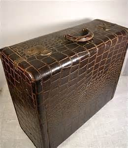 Chocolate Nightstand by Vintage Leather Suitcase Alligator Luggage Storage