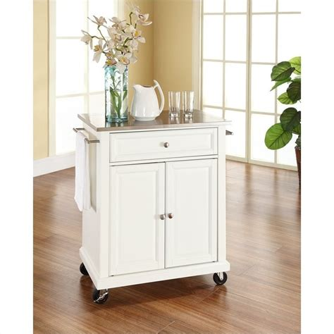 crosley furniture kitchen cart crosley furniture stainless steel top kitchen cart in white kf30022ewh