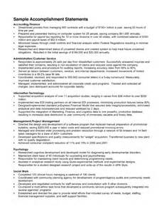 achievements for resume how to write accomplishments in resume sles of resumes