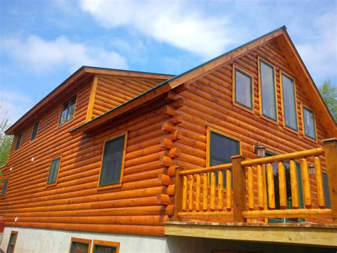 ny log cabin  house staining portfolio kelloggs painting