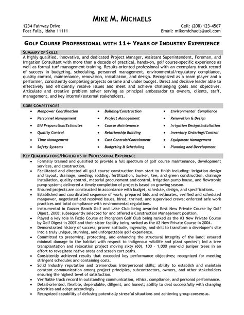 Golf Course Superintendent Resumes by Superintendent Resume Sles Best Template Collection