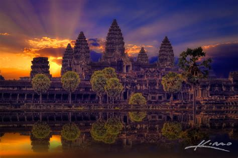 Sunrise at the Angkor Wat Temple in Siem Reap Cambodia