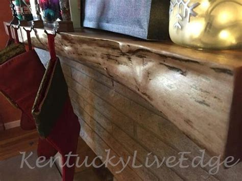 hand   edge walnut mantel  kentucky liveedge