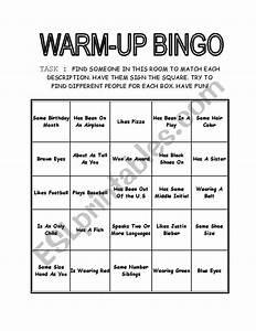 Warm-up Bingo