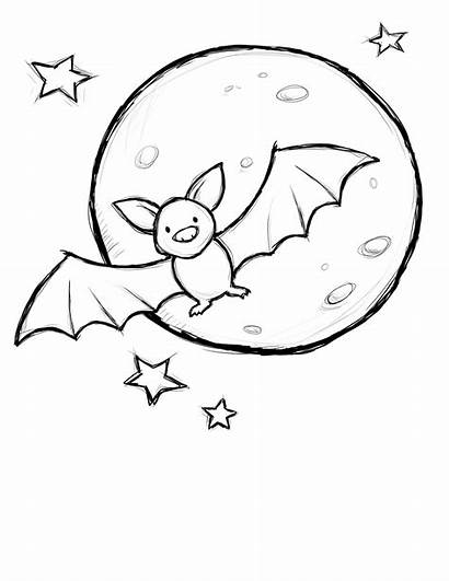 Halloween Coloring Bat Pages Moon Bats Printable