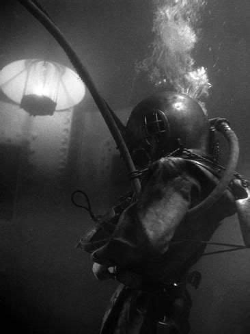Photographic Print: Diver Wearing Deep Sea Diving Suit in