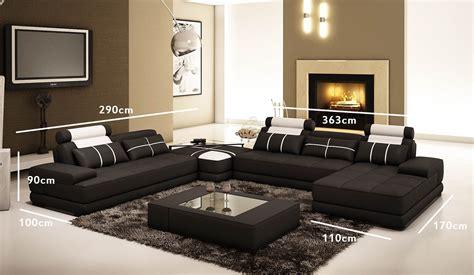 canape angle noir deco in canape d angle cuir noir et blanc design