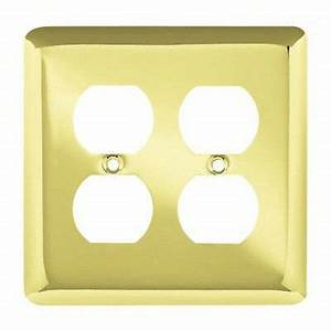 64067 Stamped Brass Plate Double Duplex Outlet Switch