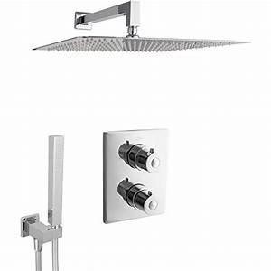 Unterputz Thermostat Dusche : m bel24 paulgurkes design regendusche komplettes thermostat unterputz duschset eckig mit 40 cm ~ Frokenaadalensverden.com Haus und Dekorationen