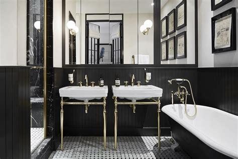 ideas   glamorous black  gold bathroom home