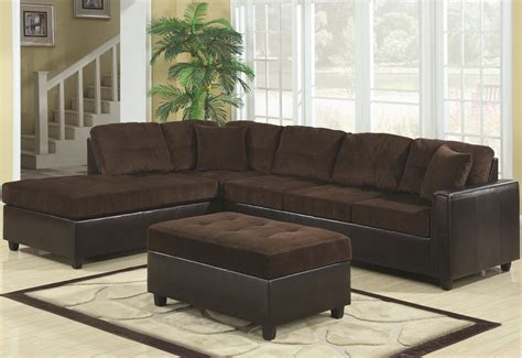 Brown L Shaped Sectional Couch With Black Leather Base And