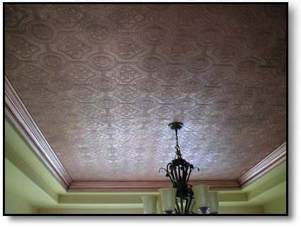 faux copper ceiling wallpaper painted  copper paint