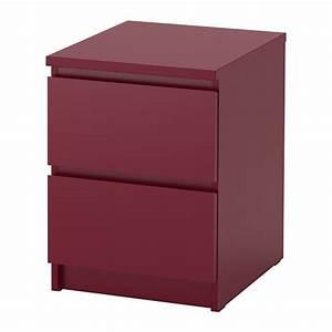 MALM Commode 2 Tiroirs Rouge Fonc IKEA