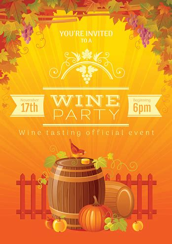 Harvest Festival Vector Poster Autumn Wine Party