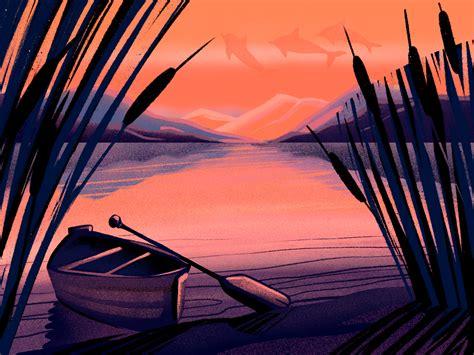 Sunset River Illustration by tubik.arts on Dribbble