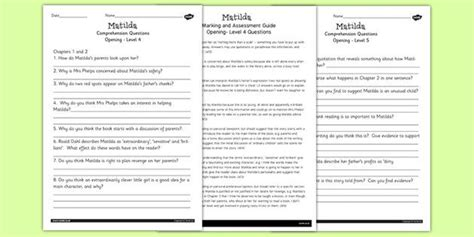 matilda levelled comprehension worksheets sumi s