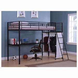 Full Size Metal Loft Bed With Desk