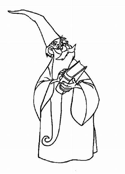 Coloring Merlin Wizard Spell Holding Magic Spells