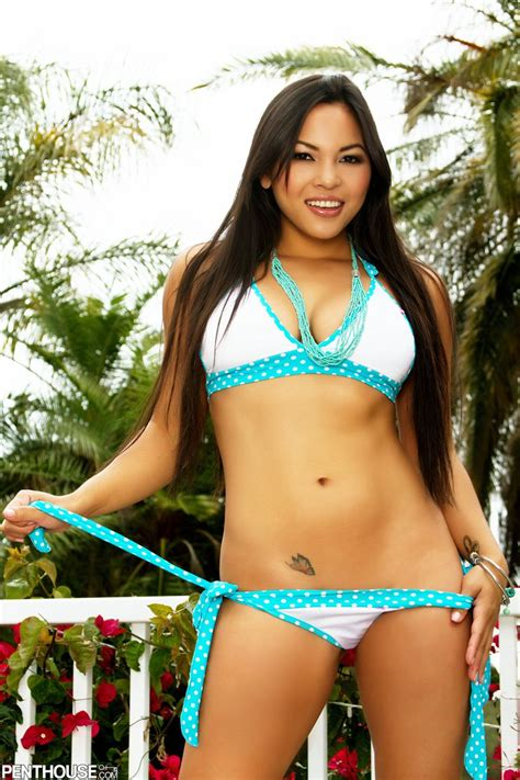 adriana luna strips off her blue bikini outside on the deck penthouse 16 pictures