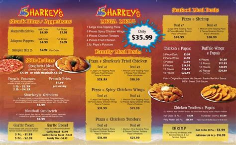 Sharkey's Pizza Menu Inside