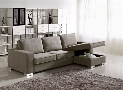 Pale Brown Leather Sofa Chaise Lounge With Storage Under