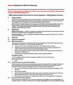 4 statement of work templates excel xlts With contractor statement of work template