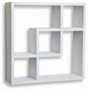 Eden Geometric Square Wall Shelf, White - Contemporary