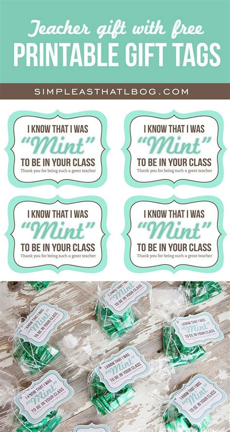 teacher gift idea   printable mint   gift