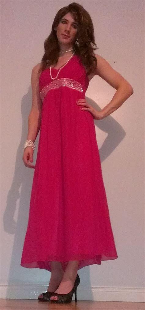Cross Dressers In by Pink Maxi Dress Crossdresser Crossdressing