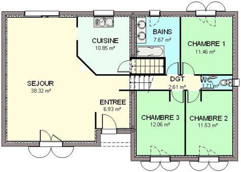 plan maison 4 chambres plain pied gratuit construction 86 fr gt plan maison demi sous sol