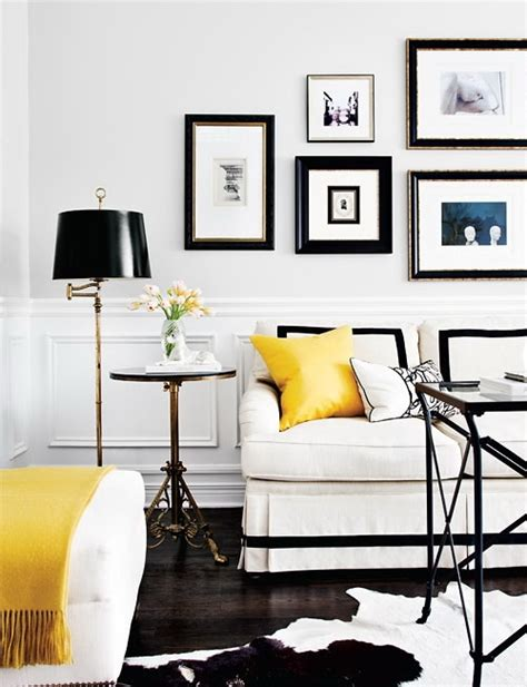 White Black And Yellow Living Room  Transitional  Living
