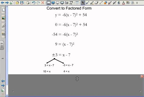 converting vertex form to factored form youtube