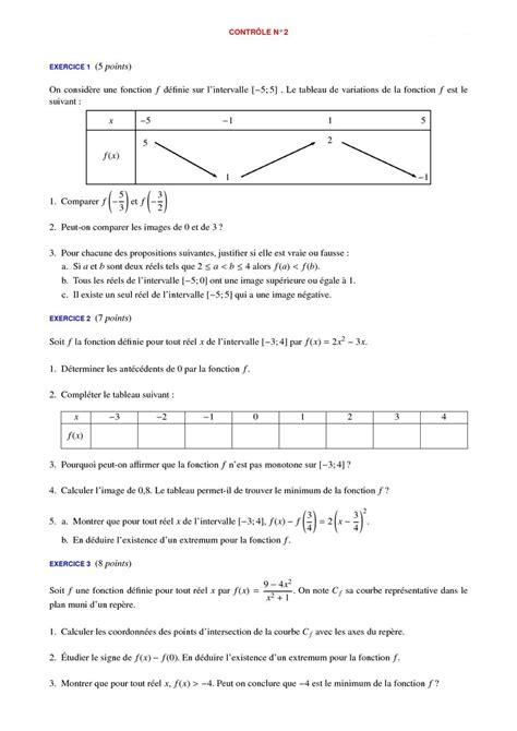 contr 244 les de maths 2de et devoirs surveill 233 s corrig 233 s en seconde
