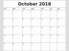 October 2018 Cute Printable Calendar