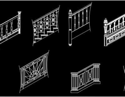 staircase railing design cad blocks dwg drawing autocad