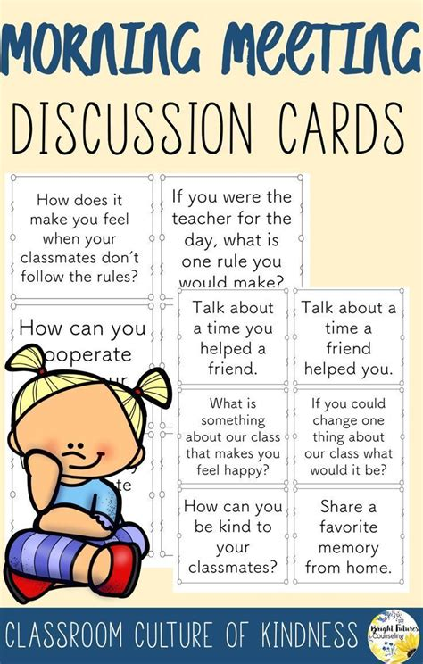 morning meeting discussion cards morning meeting