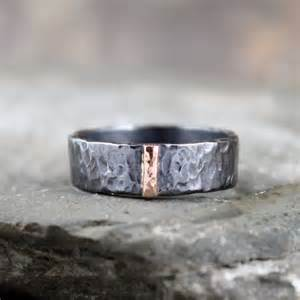 mens gold and silver wedding bands 14k gold and black sterling silver band flat pipe style 39 s or jewellery 6mm