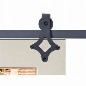 calhome 72 in matte black rustic star barn style sliding With 72 inch barn door hardware