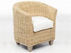 Coussin Fauteuil Rotin : fauteuil en rotin beige coussin en tissu blanc jiliane ~ Preciouscoupons.com Idées de Décoration