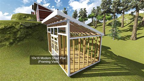 shed plans 10 x 16 10x16 modern shed plan