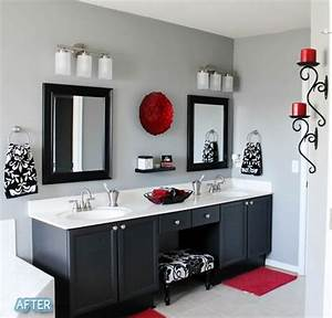 this is the theme of my master bath black white and With black white and red bathroom decorating ideas