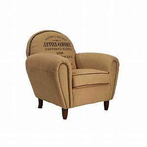 Fauteuil Bridge Neuf : fauteuil bridge toile de jute beige et texte imprim vintage ~ Teatrodelosmanantiales.com Idées de Décoration