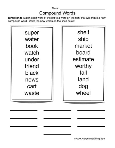 compound words worksheets year 6 worksheets resources