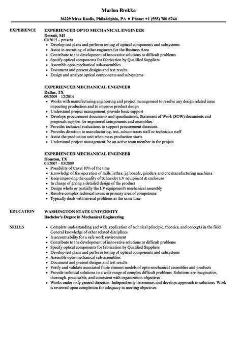 experience mechanical engineer resume bijeefopijburgnl