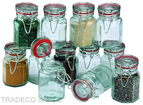 Airtight Spice Containers by Set Of 12 Glass Clip Top Spice Jars Airtight Container