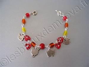 bijou bracelet fantaisie pour enfant rouge et orange With bijoux fantaisie enfant