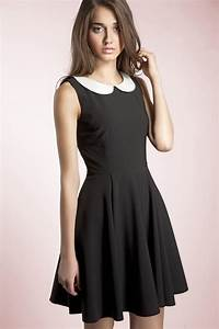 Robe noire avec col claudine blanc fashion pinterest for Robe fleurie col claudine