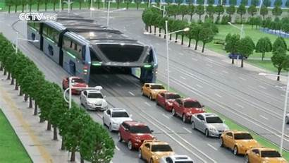 Bus Straddling Futuriste Buses Chinese Routier Trafic
