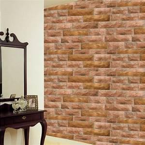Red Brown Stone Brick Self Adhesive Wallpapers ...