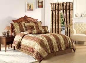 vintage stripe 7pc jacquard comforter set gold burgundy stripes queen size bed ebay